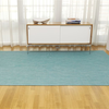 "Chilewich Mini Basketweave Floormat - Turquoise 72"" x 106"""