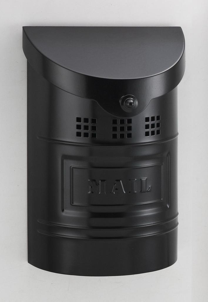 "Steel Mailbox - Black Matte Finish & Matching Steel ""Mail"" Label"