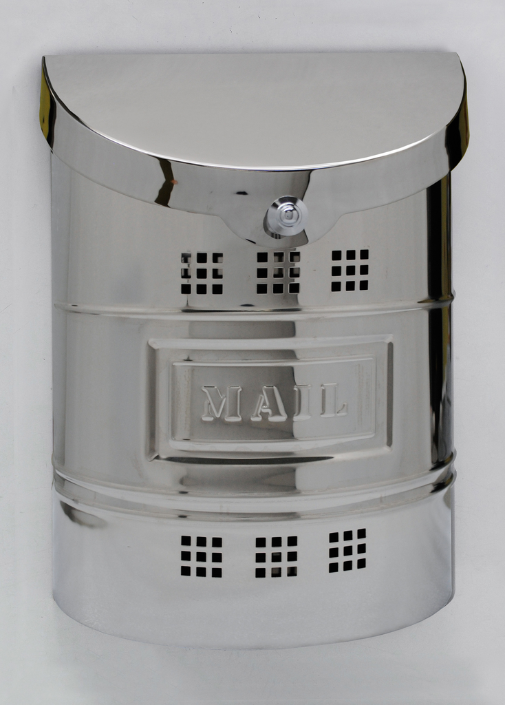 "Steel Mailbox - Polished Finish & Matching Steel ""US Mail"" Label"