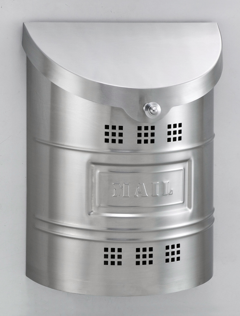 """Steel Mailbox - Brushed Finish & Matching Steel """"US Mail"""" Label"""
