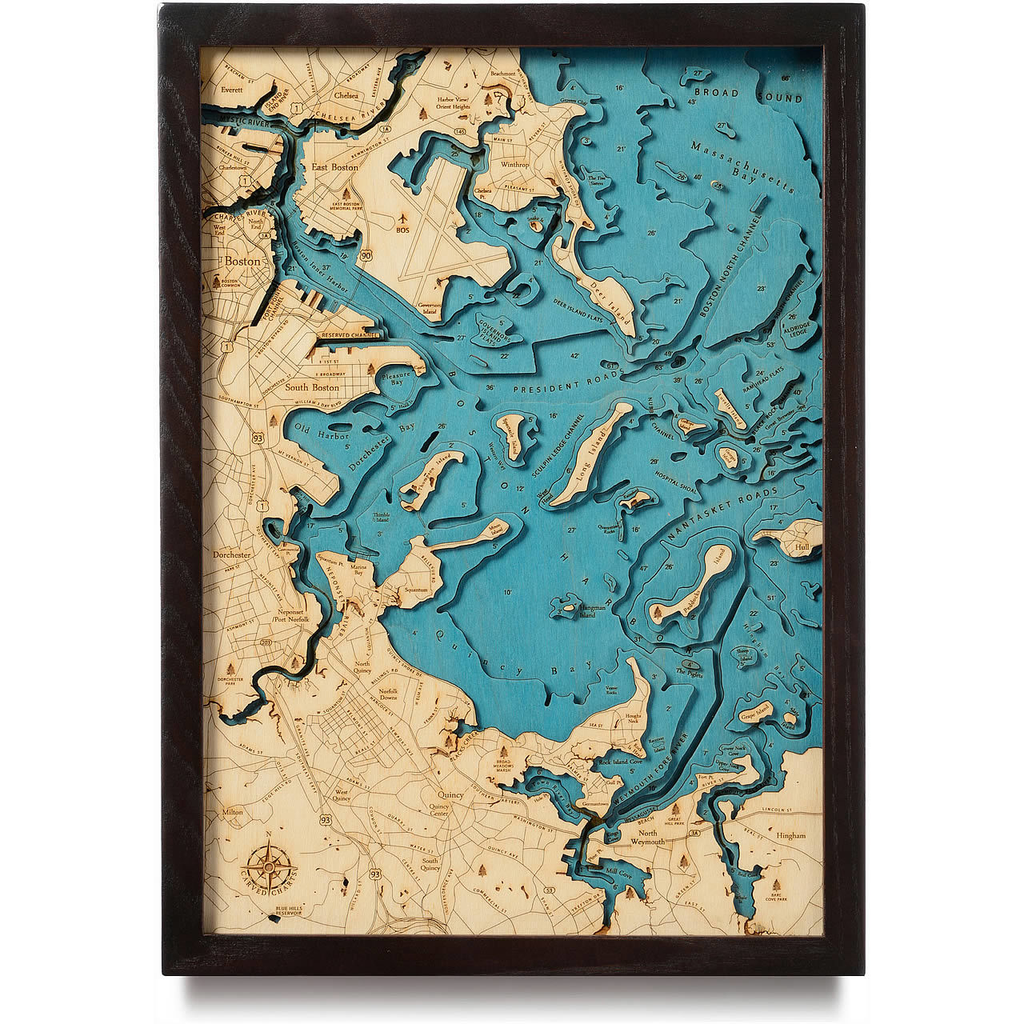 "Boston Wood Map 13"" x 17"""