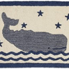 """Whale In Water Hooked Wool Rug 20"""" x 30"""""""