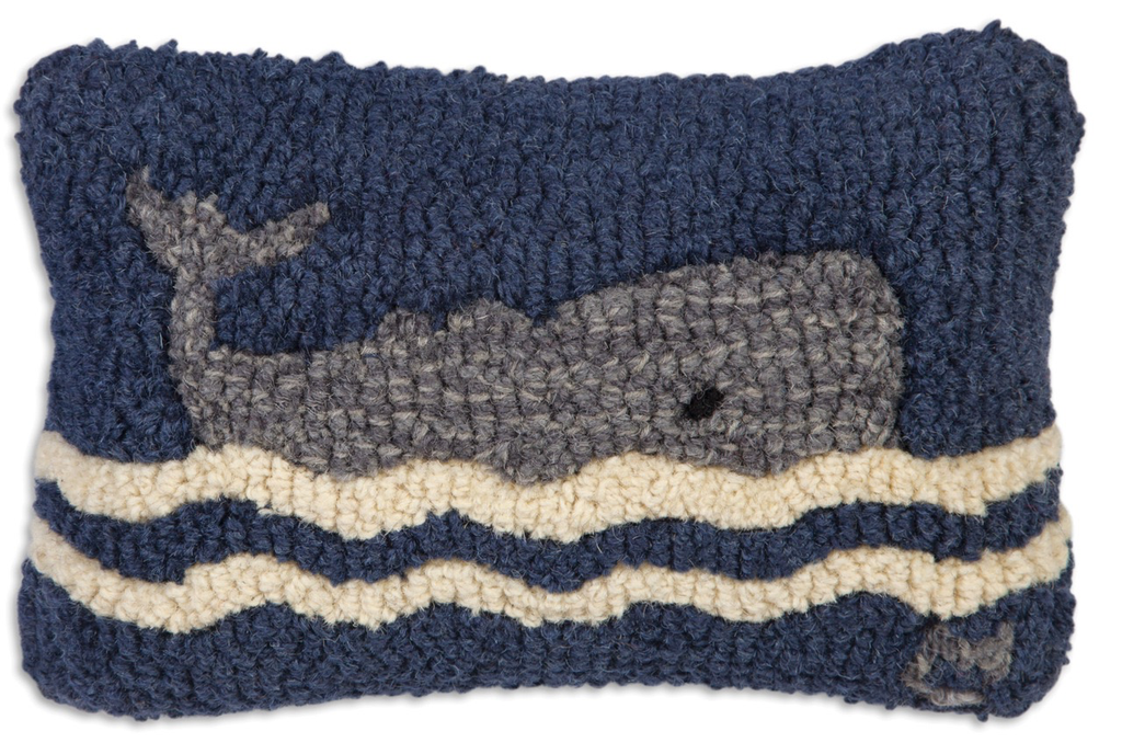 """Wavy Whale Hooked Wool Pillow 8"""" x 12"""""""