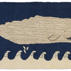 White Whale on Navy Rug - Blue & White 2' X 4'