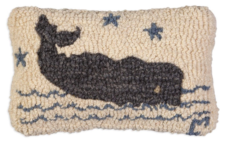 "Grey Whale Hooked Wool Pillow 8"" x 12"""