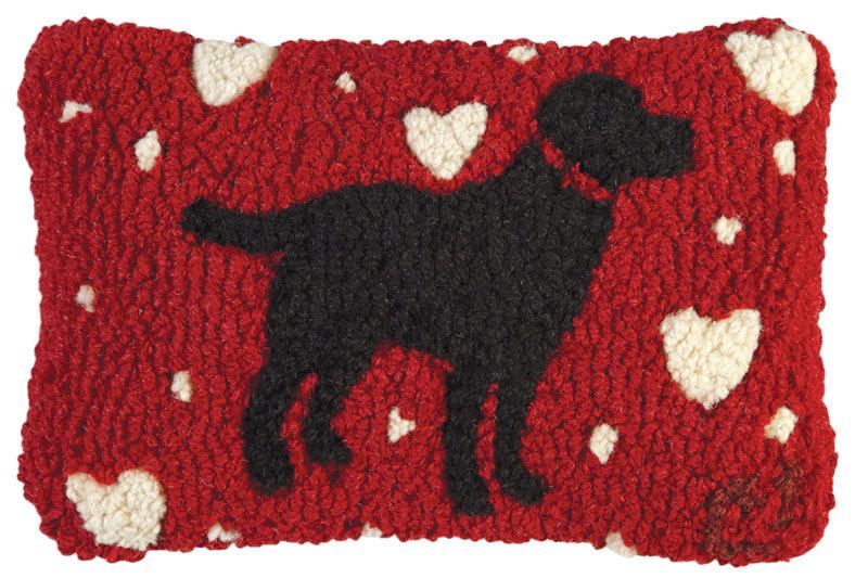 "Lab LoveHooked Wool Pillow 8"" x 12"""