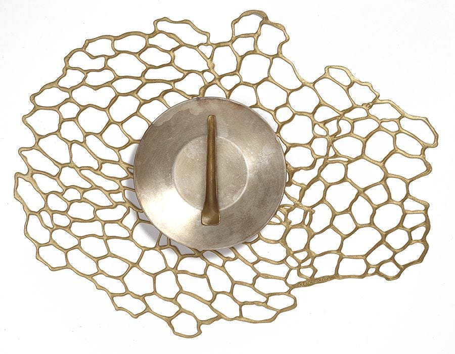 """Chilewich Sea Lace Table Mat - Brass Oval 13.9"""" x 17.75"""""""