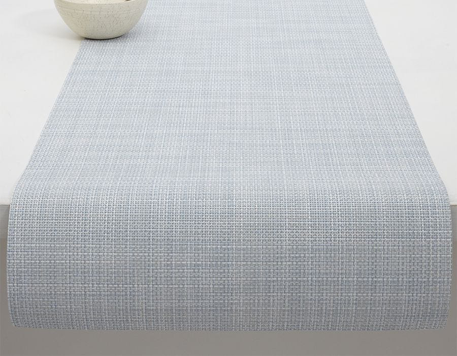 "Chilewich Mini Basketweave Table Runner - Sky 14"" x 72"""