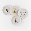 """Melamine """"Paper"""" Plates - Busy Bees 7.5"""" Set of 4 Assorted"""