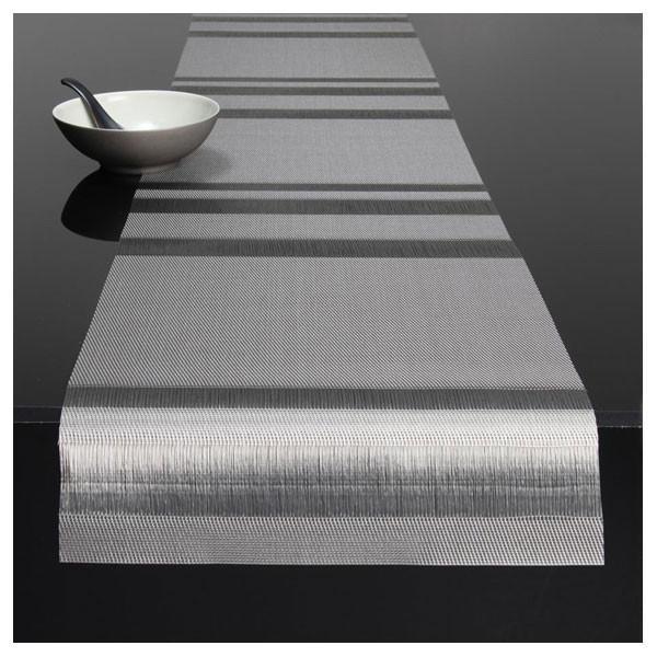 "Chilewich Tuxedo Stripe Table Runner - Silver 14"" x 72"""