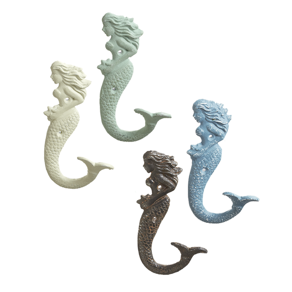 "Mermaid Wall Hook  4"" W. x 2 1/4"" D. x 6 3/4"" H."