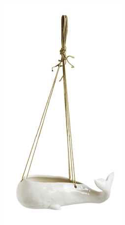 "xWhale Planter - Hanging 9.5""L Stoneware White"