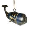 "Reclaimed Metal Ornament - Whale Blue 6"" x 2.5"" x 2"""