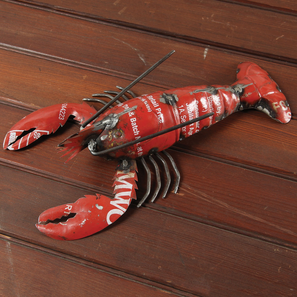 "Reclaimed Metal Lobster - Red 13""L x 7""W"