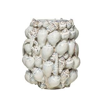 "Stoneware Vase w/ Shells, Reactive Glaze, White 10"" Round x 12.25""H"