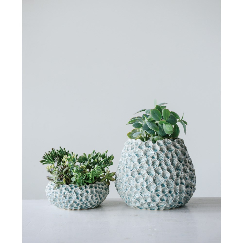 "Ceramic Planter, Light Blue w/ Texture 12"" Round x 9.75""H"