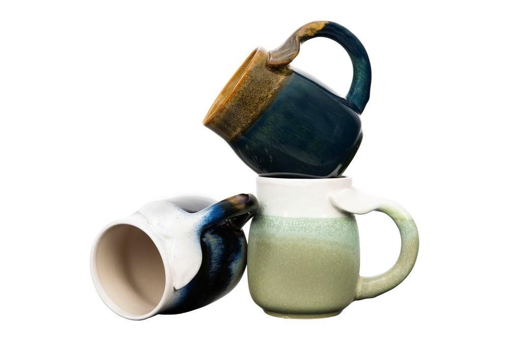 "Stoneware Mug w/ Whale Tail Handle, Reactive Glaze, Choice 3 Colors 3.75"" Round x 4.5""H 16 oz."