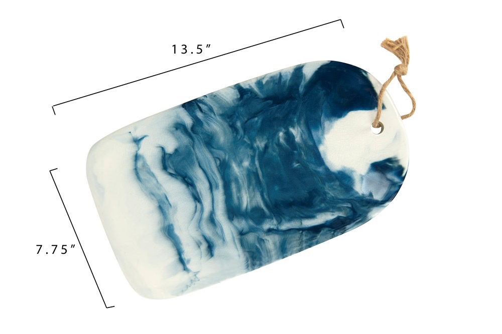 "Ceramic Cheese/Cutting Board, Blue Marble Glaze 13.5""L x 7.75""W"
