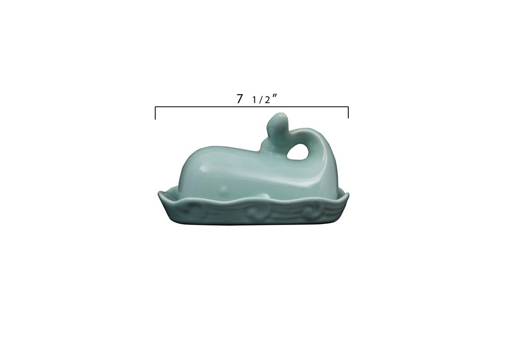 "Stoneware Whale Shaped Butter Dish, Aqua 7""L x 4""H"