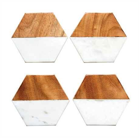 Marble & Mango Wood Hexagon Shaped Coasters, Set of 4