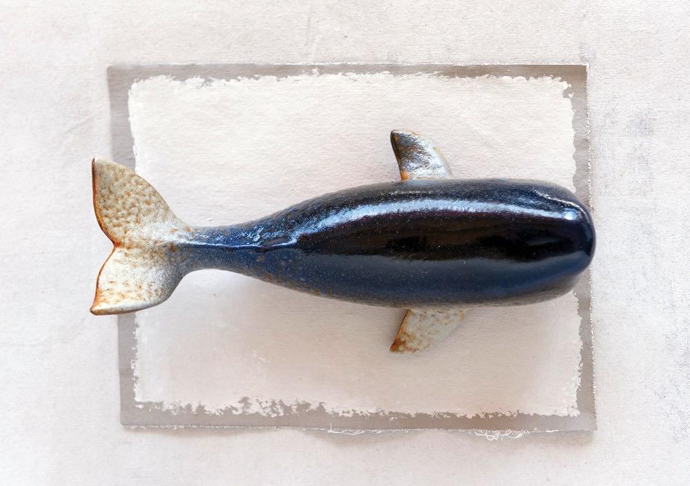 "Stoneware Whale, Reactive Glaze 11.5""L x 5.5""W x 4""H"