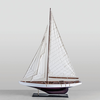 """Wood & Fabric Boat On Stand 39.25""""L x 53.5""""H"""