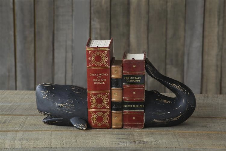 "Resin Whale Bookends, Set of 26.75""H"
