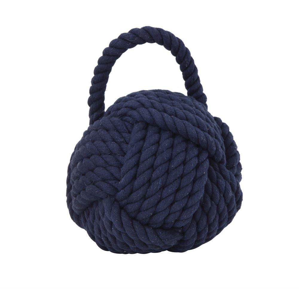 "Rope Knot Doorstop, Blue 6.25""L x 6.25""H"