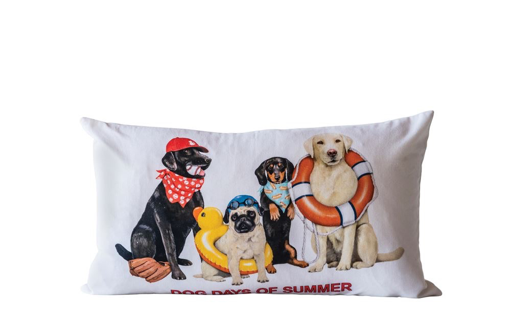 """Cotton Pillow w/ Dogs """"Dog Days of Summer"""" 24""""W x 14""""H"""