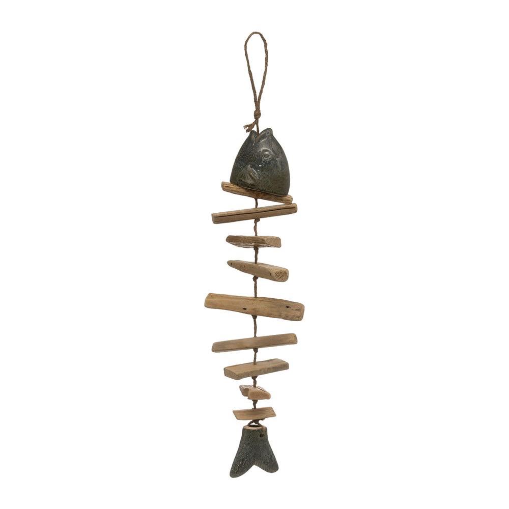 "Driftwood & Stoneware Fish Shaped Wind Chime, Reactive Glaze 5.5""W x 19""L"