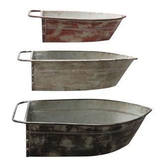 Metal Boat Tins, Distressed Finish, Set of 3