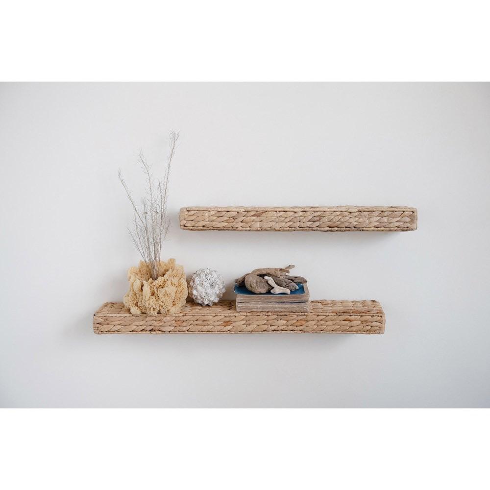 "Hand-Woven Water Hyacinth Wall Shelf, Natural 23.5""W x 4.75""D"