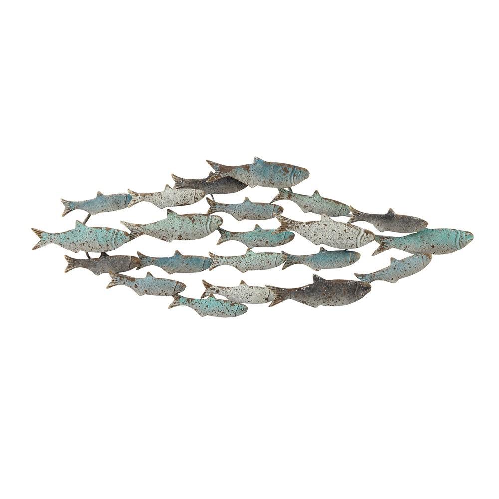 """Metal School of Fish Wall Decor 39.5""""L x 14""""H"""