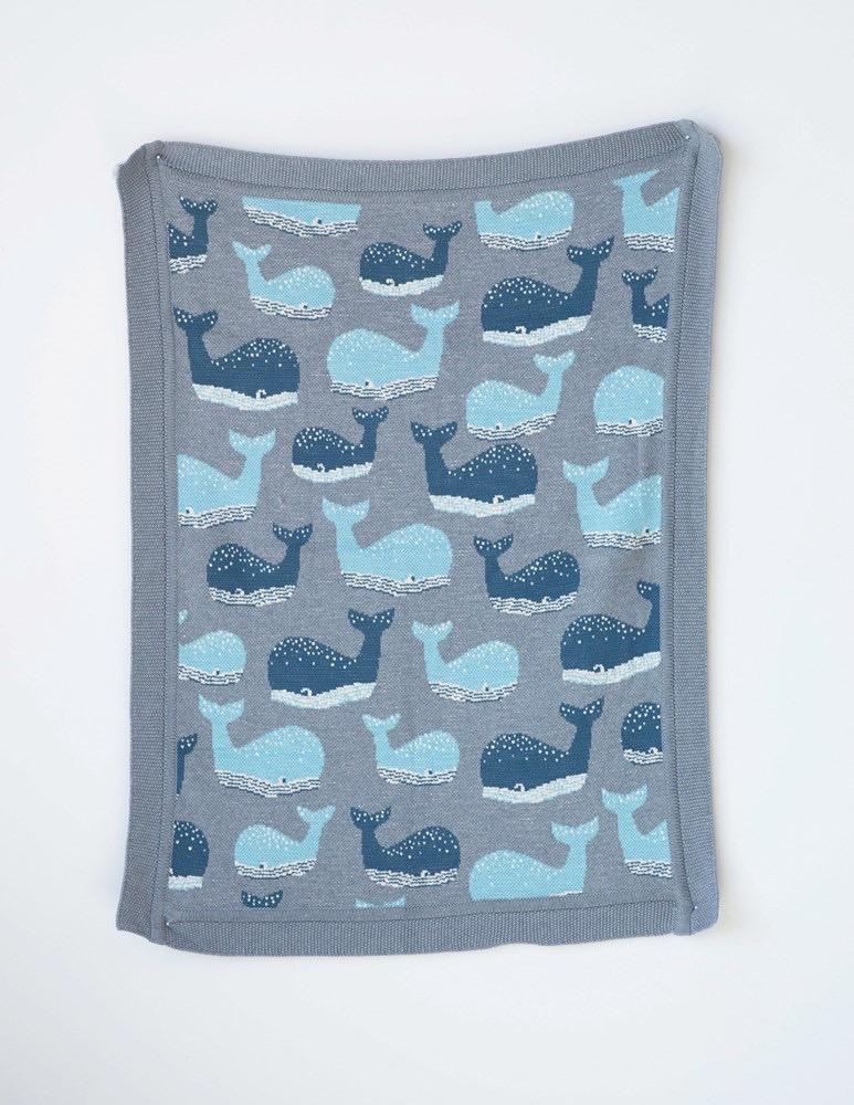 "Cotton Knit Blanket w/ Whale, Grey 32""L x 40""W"