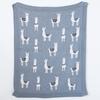 """Cotton Knit Blanket w/ Llama Grey 32""""L x 40""""W"""