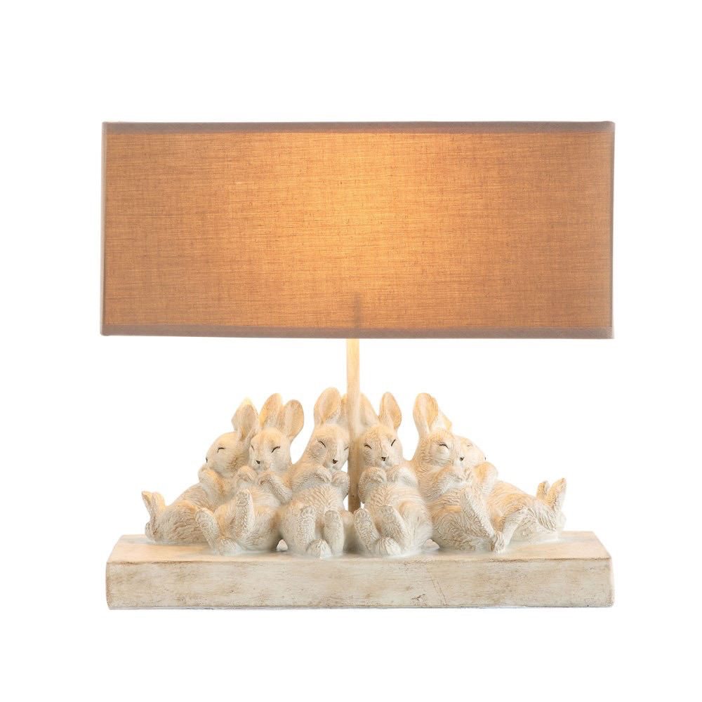 "Table Lamp w/ Rabbits & Linen Shade, Sand Color 14""L x 5.5""W x 13""H"