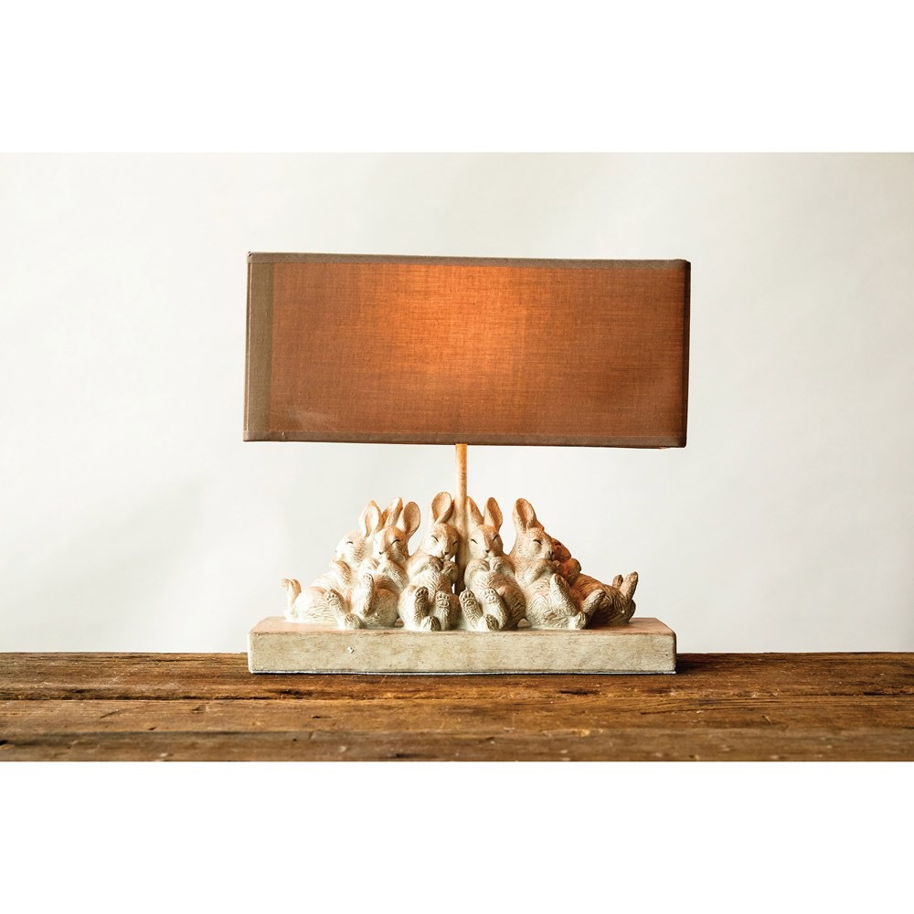 """Table Lamp w/ Rabbits & Linen Shade, Sand Color 14""""L x 5.5""""W x 13""""H"""