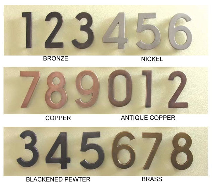 "Diecast Metal Numbers - 4""H Width varied 1"" to 2.75"" Available in 6 Finishes"