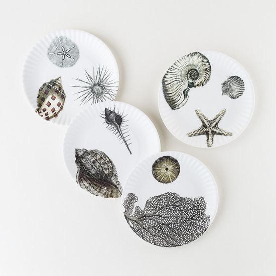 "Melamine ""Paper"" Plates - Shells 9"" Set of 4"