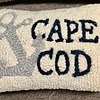"""Cape Cod Anchor Hooked Wool Pillow 8"""" x 12"""""""