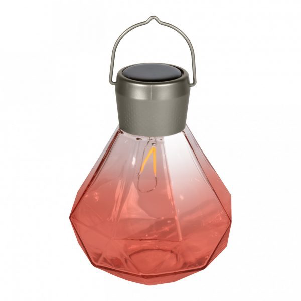 "Gem Light Glass Solar Lantern - Rose 5.5"" x 7"""