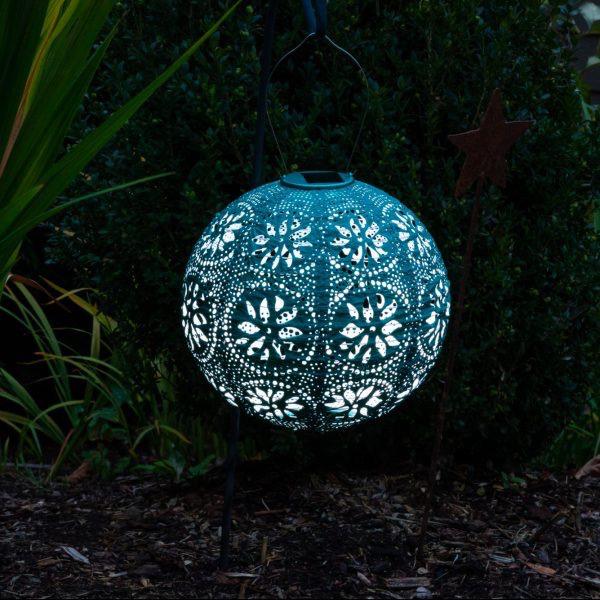 "Boho Solar Lantern - Metallic Emerald 12"""