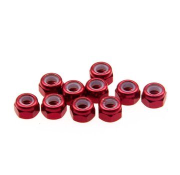 ExcelRC Lock Nut with nylon insert and NO flange M3 Red 1 PCS