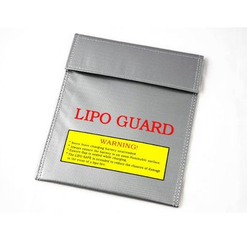 ExcelRC Lipo Guard Charge & Storage Bag Large Black 11 x 9 Inch Silver