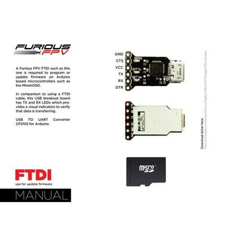 FURIOUS FPV FuriousFPV FTDI - USB Cable Set - for Piggy OSD Board