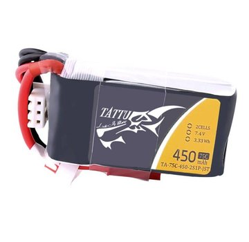Tattu Tattu 450mAh 7.4V 75C 2S1P Lipo Battery Pack with JST-SYP plug
