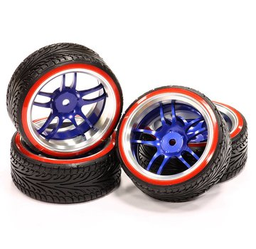 Integy Integy Billet Machined Alloy D5 Spoke Wheel 0 Offset + Drift Tire (4) Set (O.D.=64mm)