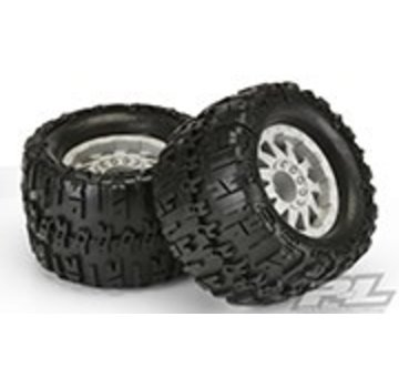 "Pro-Line PRO-LINE X3.8"" (Traxxas Style Bead) All Terrain Truck Tires Mounted on Stone Grey 1/2"" Offset 17mm Wheels for 17mm MT Front or Rear"