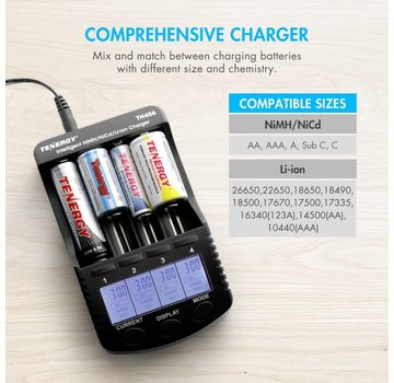 Tenergy Tenergy TN456 4-Bay Intelligent Battery Charger (for Li-Ion, LiFe, NiMH, NiCD)