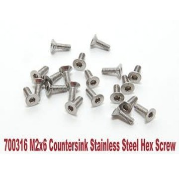 PN Racing PN Racing M2x6 Countersink Stainless Steel Hex Machine Screw (20pcs)